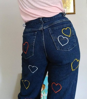 hearts, patterned and mom jeans