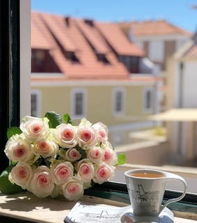 bouquet, cup of coffee and bouquet of flowers