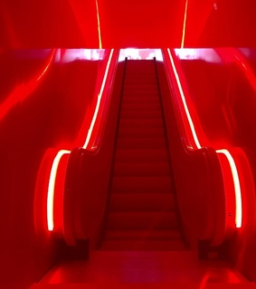 neon, stairs and red