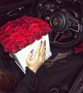 luxury cars, flowers and porche