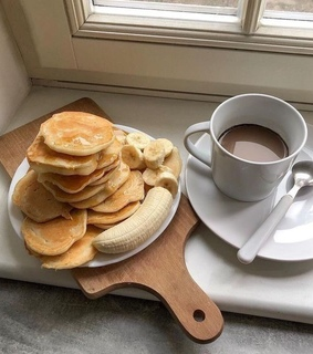 pancakes, coffee and morning