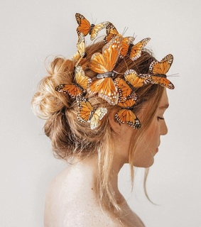 boho, butterfly and orange hair