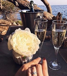 champagne, rings and couple