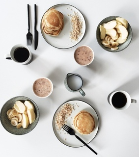 simplicity, coffee and pancakes