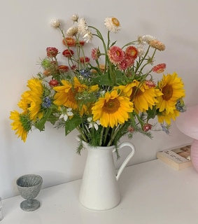 tan, beige and sunflowers
