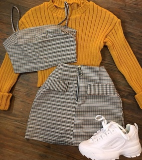 outfits, skirt and sweater