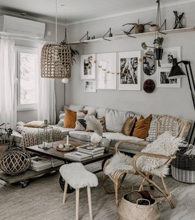living room, interior design and grey