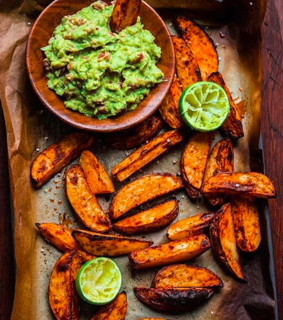 bake, wedges and guacamole