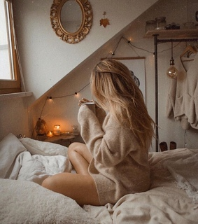 bed, candles and girl