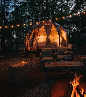nature, camp and lights