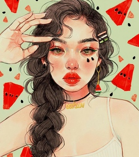 watermelon, illustration and draw