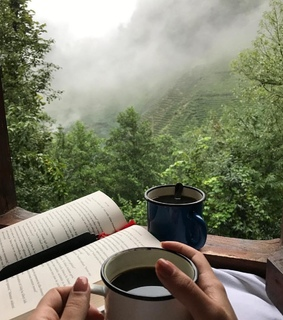 relax, nature and coffee