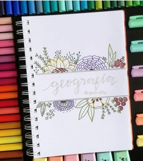 bullet journal, geografia and flowers