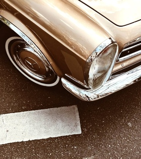 golden, vintage and cars