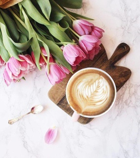 drinks, coffee and cozy tulips