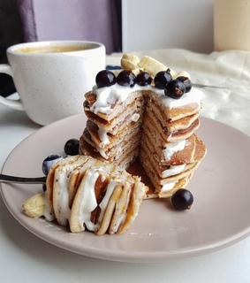 healthy food, delicious and pancakes