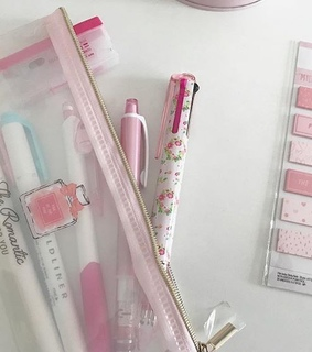 pen, study and pink