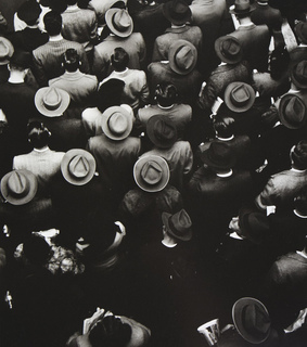 coat, crowd and hats